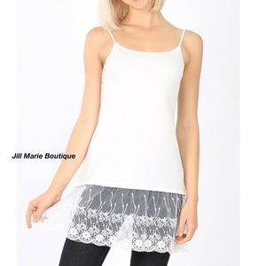 Long camisole tank top lace trim sweater extender